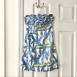 Lilly Pulitzer Dresses - Lily Pulitzer Dockside Sailboat Strapless Dress 00